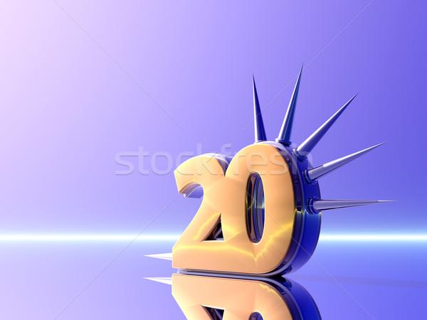 Número vinte ilustração 3d metal estilo perigo Foto stock © drizzd