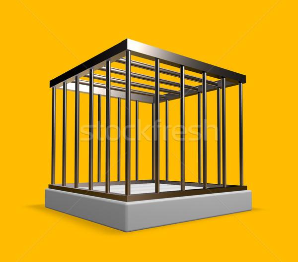 Metaal kooi Geel 3d illustration veiligheid vrijheid Stockfoto © drizzd