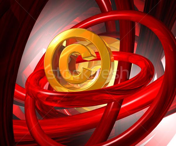 Szerzői jog szimbólum absztrakt űr 3d illusztráció üzlet Stock fotó © drizzd