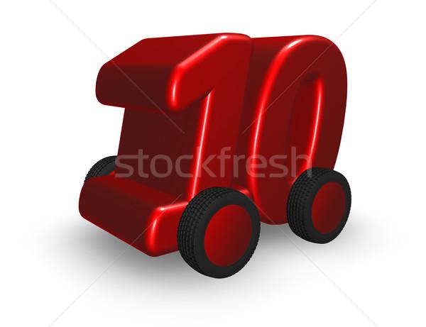 Szám tíz út kerekek 3d illusztráció autó Stock fotó © drizzd