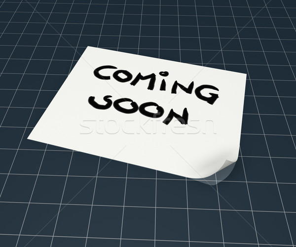 coming soon tag on paper sheet - 3d rendering Stock photo © drizzd