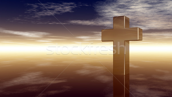 christian cross under cloudy sky - 3d rendering Stock photo © drizzd