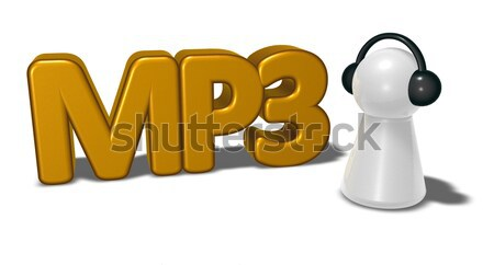 mp3 tag and pawn with headphones - 3d rendering Stock photo © drizzd