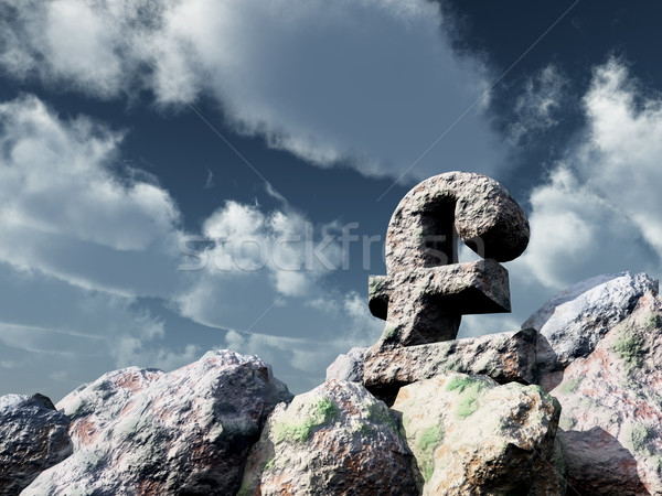 Steen pond symbool bewolkt blauwe hemel 3d illustration Stockfoto © drizzd