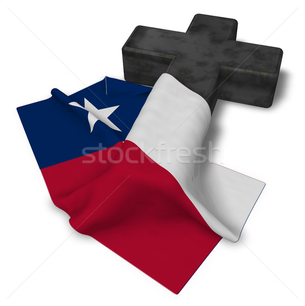 christian cross and flag of texas - 3d rendering Stock photo © drizzd