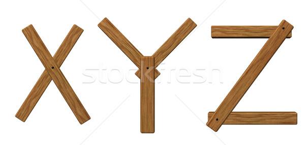 Litery biały 3d ilustracji drewna szkoły Zdjęcia stock © drizzd