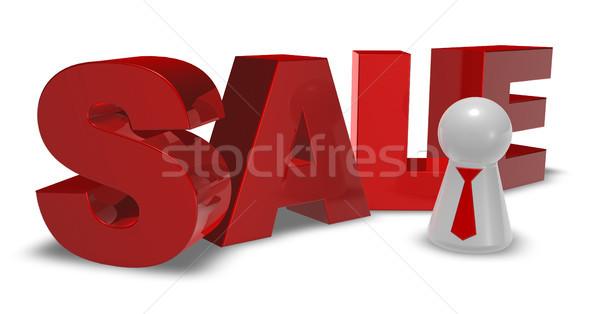 Gyalog nyakkendő vásár címke 3D renderelt kép Stock fotó © drizzd