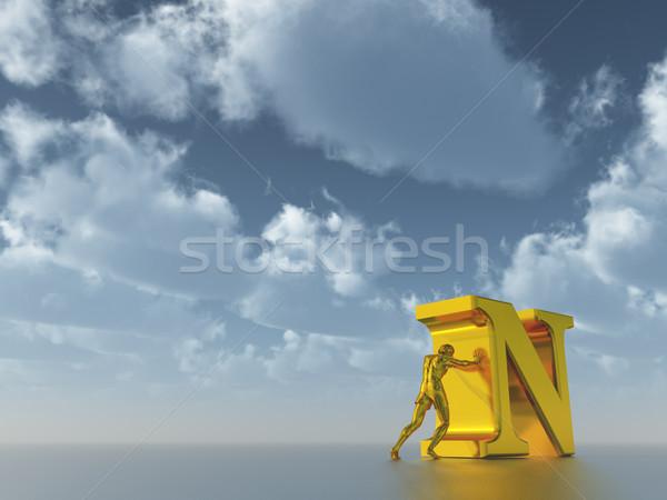 Foto stock: Homem · dourado · descobrir · nublado · blue · sky