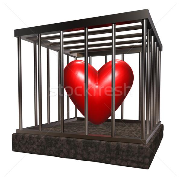 Szeretet ketrec fém piros szív bent Stock fotó © drizzd