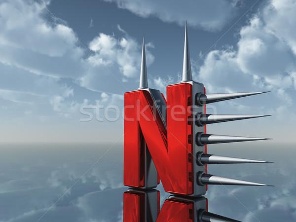 Foto stock: Metal · nublado · blue · sky · ilustração · 3d · céu