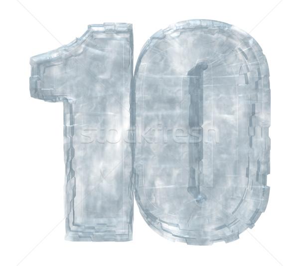 Congelato dieci numero 10 bianco illustrazione 3d Foto d'archivio © drizzd