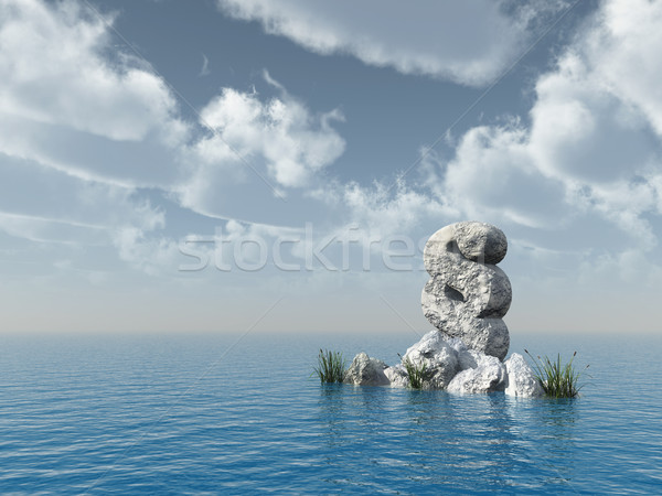 Stock photo: paragraph symbol rock - 3d rendering