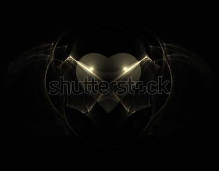 Gótikus szív absztrakt illusztráció fekete háttér Stock fotó © drizzd
