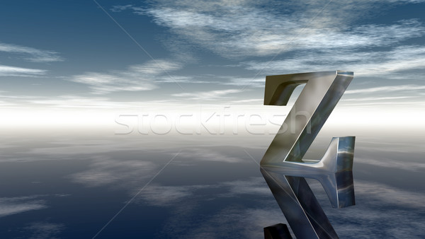 Stock photo: metal uppercase letter z under cloudy sky - 3d rendering