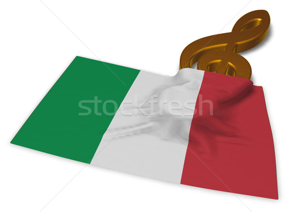 clef symbol and italian flag - 3d rendering Stock photo © drizzd