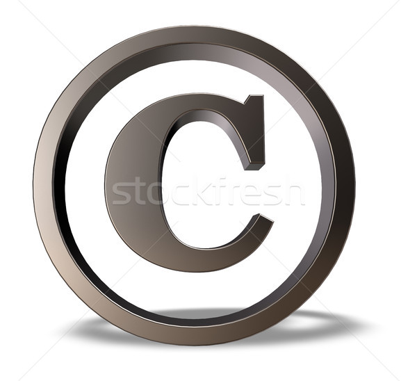 Derechos de autor símbolo metal blanco 3d negocios Foto stock © drizzd