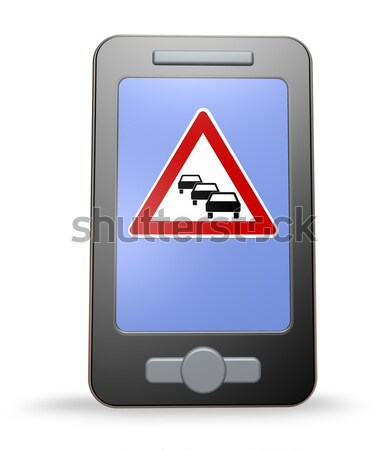 Trafic app smartphone panneau routier embouteillage blanche Photo stock © drizzd