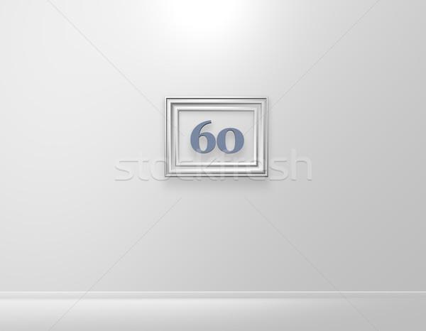Zestig fotolijstje aantal witte muur 3d illustration Stockfoto © drizzd