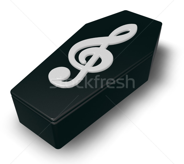 black casket whit clef - 3d rendering Stock photo © drizzd