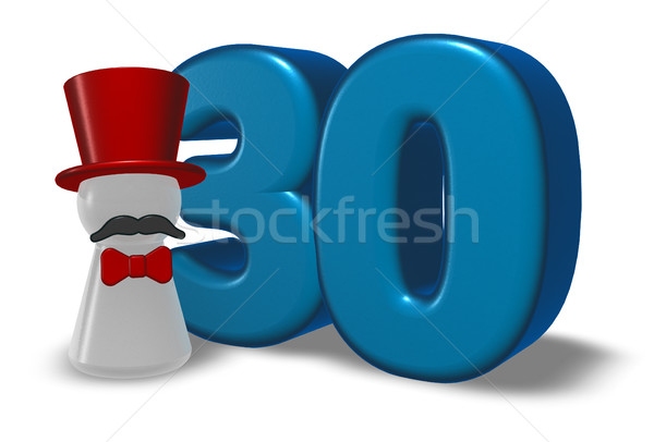 number thirty and pawn with hat and beard - 3d rendering Stock photo © drizzd