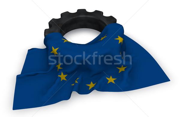 Gear колесо флаг европейский Союза 3D Сток-фото © drizzd
