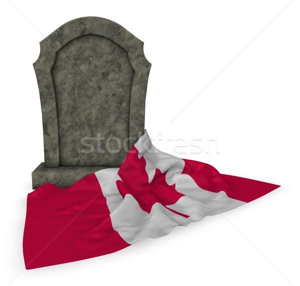 gravestone and flag of canada - 3d rendering Stock photo © drizzd