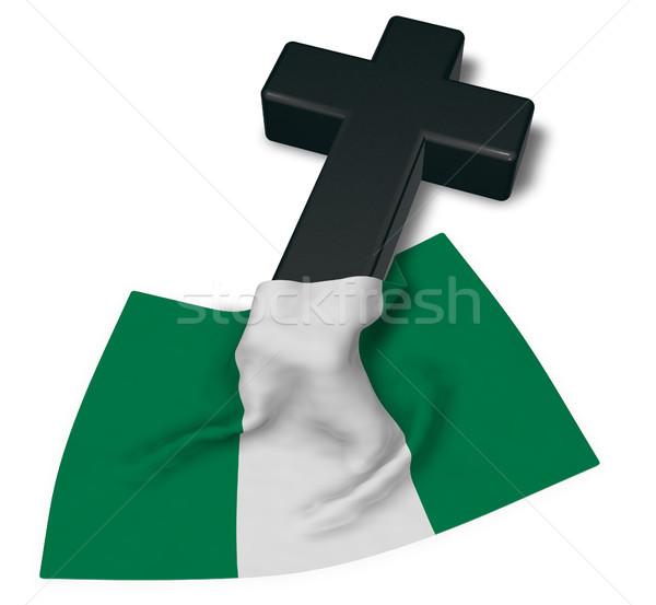 Cristão atravessar bandeira Nigéria 3D Foto stock © drizzd