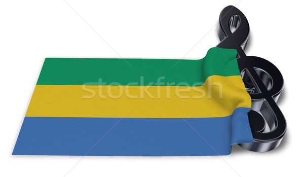 clef symbol and flag of gabon - 3d rendering Stock photo © drizzd