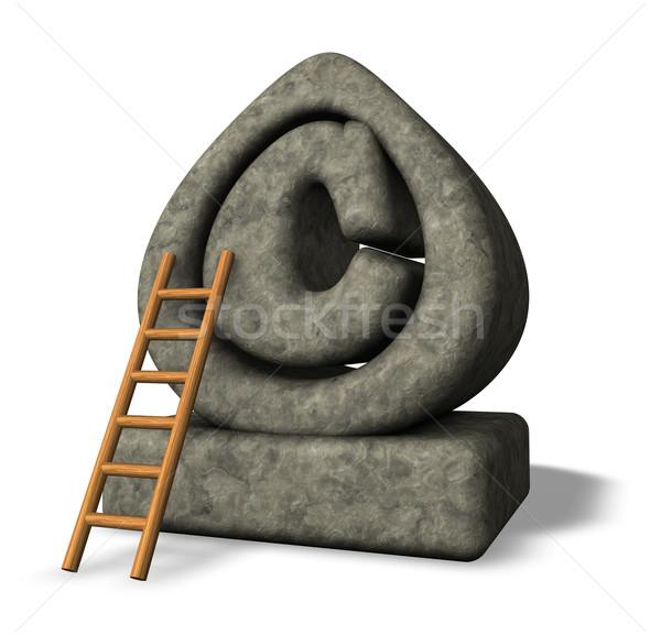 Diritto d'autore pietra simbolo scala bianco illustrazione 3d Foto d'archivio © drizzd