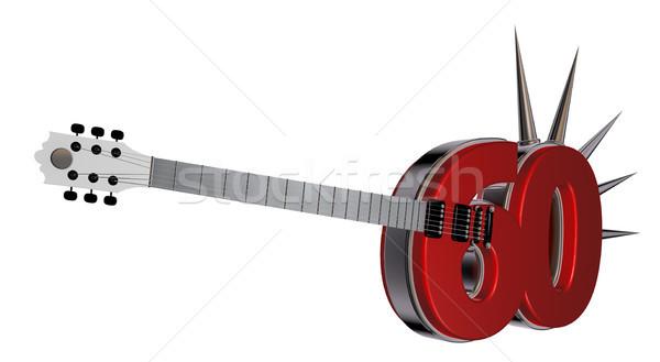 Numara altmış gitar beyaz 3d illustration Metal Stok fotoğraf © drizzd
