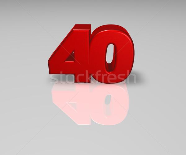 Numara kırk kırmızı parlak 3d illustration yıldönümü Stok fotoğraf © drizzd