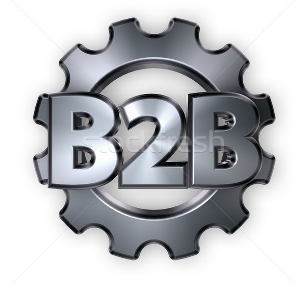 b2b tag and gear wheel - 3d rendering Stock photo © drizzd