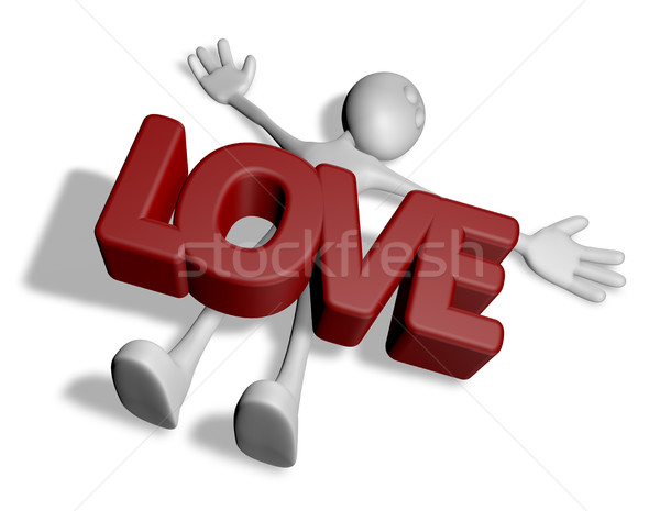 cartoonguy under the word love - 3d rendering Stock photo © drizzd