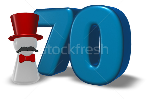 number seventy and pawn with hat and beard - 3d rendering Stock photo © drizzd