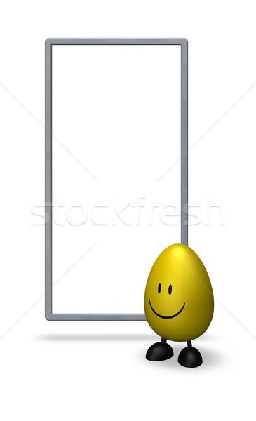 Stockfoto: Easter · egg · witte · teken · 3d · illustration · Pasen
