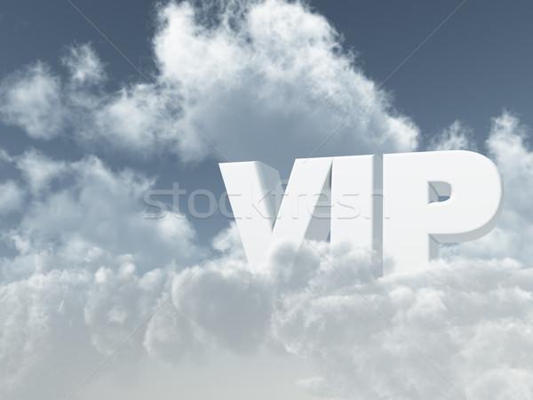 Vip brieven bewolkt hemel 3d illustration Stockfoto © drizzd