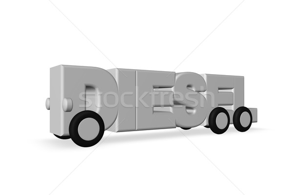 Diesel mot roues blanche 3d illustration camion Photo stock © drizzd
