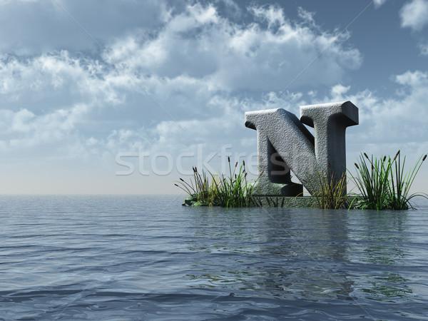 Foto stock: água · paisagem · ilustração · 3d · nuvens · natureza
