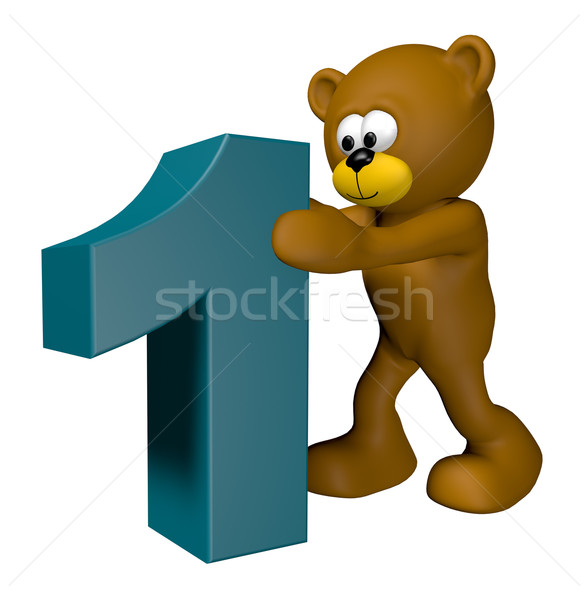 第一 泰迪熊 3d圖 嬰兒 承擔 漫畫 商業照片 © drizzd