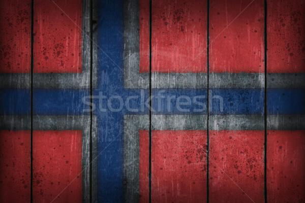 Zdjęcia stock: Norwegia · banderą · starych · rana · niebieski