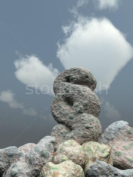 Paragraf simge kaya bulutlu mavi gökyüzü 3d illustration Stok fotoğraf © drizzd