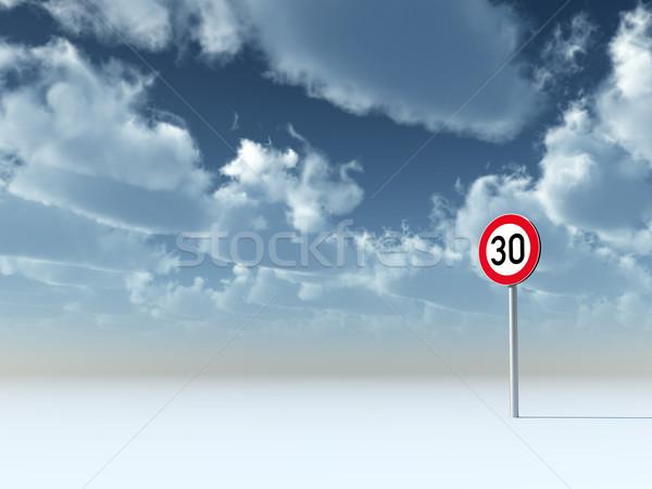 Hız limiti otuz bulutlu mavi gökyüzü 3d illustration Stok fotoğraf © drizzd