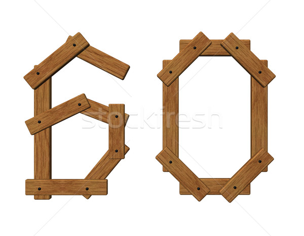 wooden number sixty Stock photo © drizzd