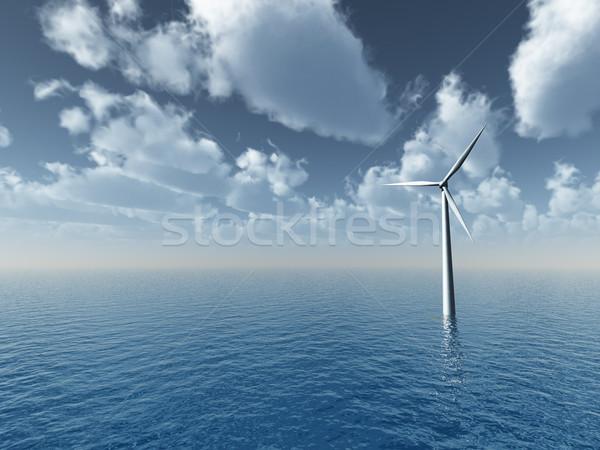 Vento gerador oceano ilustração 3d mar energia Foto stock © drizzd