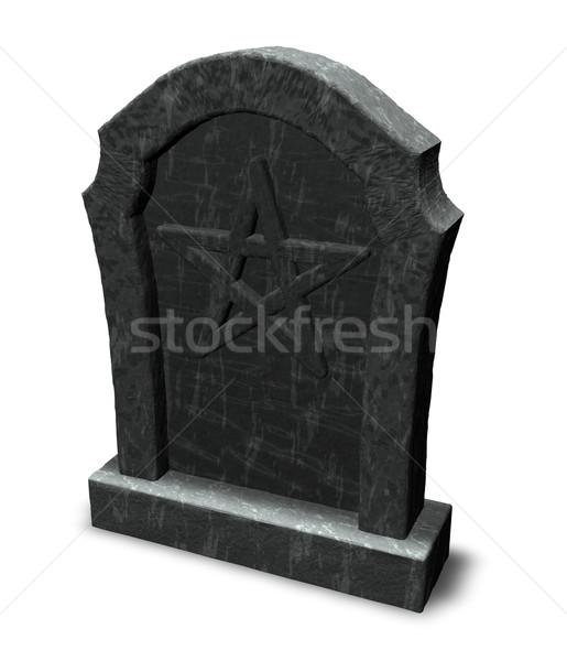 Nagrobek 3d ilustracji martwych gothic diabeł religii Zdjęcia stock © drizzd