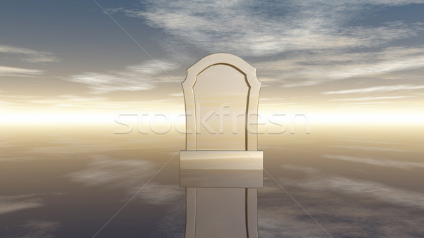 gravestone under cloudy sky - 3d rendering Stock photo © drizzd