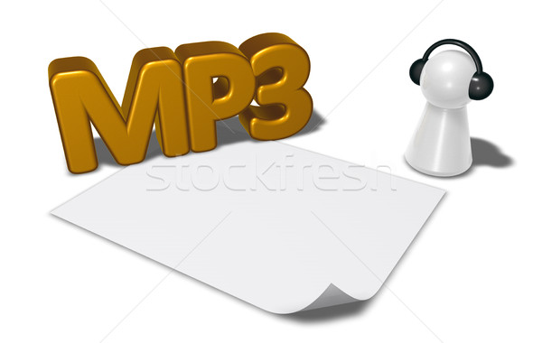 mp3 tag, blank white paper sheet and pawn with headphones - 3d rendering Stock photo © drizzd