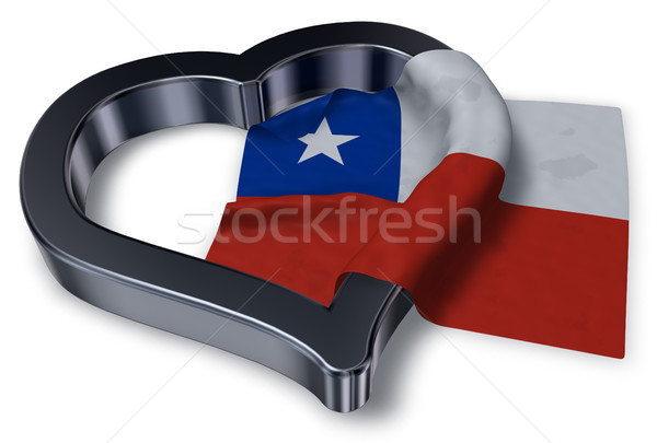 flag of chile and heart symbol - 3d rendering Stock photo © drizzd