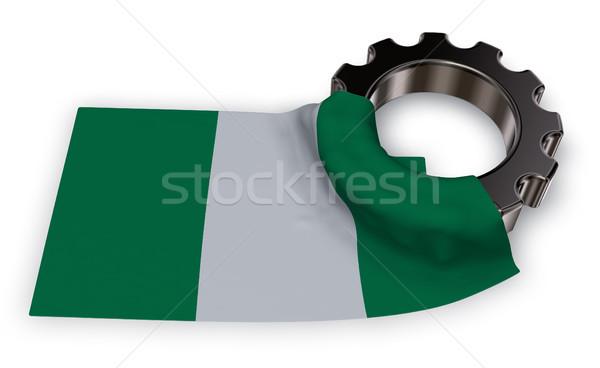 Dişli tekerlek bayrak Nijerya 3D Stok fotoğraf © drizzd