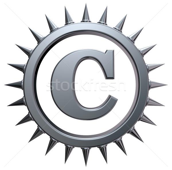 Szerzői jog szimbólum fehér 3D renderelt kép fém Stock fotó © drizzd